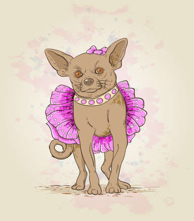 Small decorative dog in pink dress and collar Иллюстрация