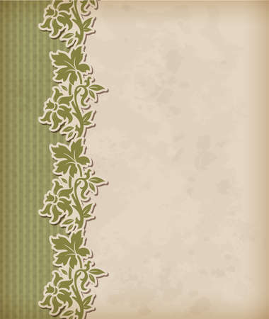 Vintage green background and floral ornament Vector