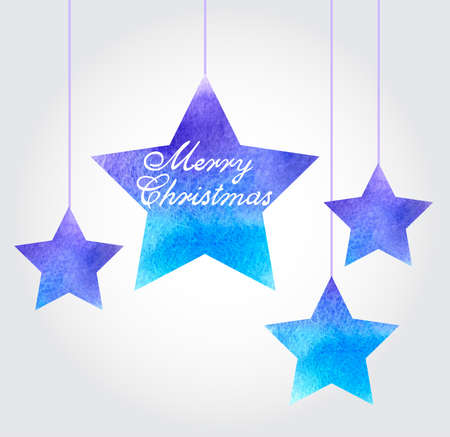 watercolor Christmas background with blue stars Vettoriali