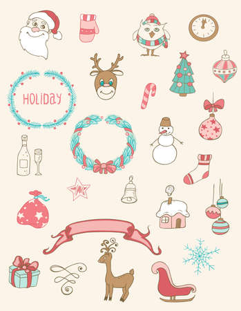 house of santa clause: Set of Christmas doodle vector desing elements