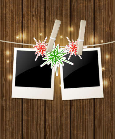 winter card: Christmas vector  background with photo and snowflake