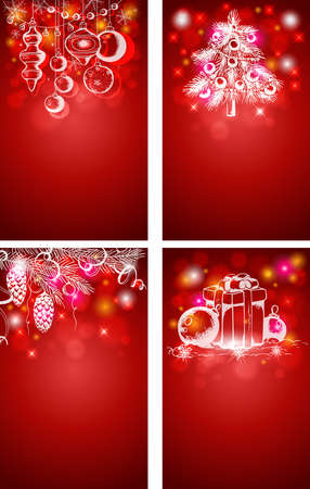 christmas backgrounds: Red Christmas vector vertical backgrounds with decorations Illustration