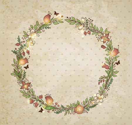 old frame: Decorative hand drawn wreath of flowers, leaves and butterflies