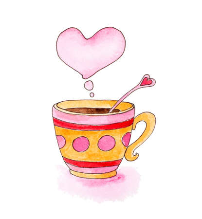 Hand drawn cup of coffee and pink heart photo