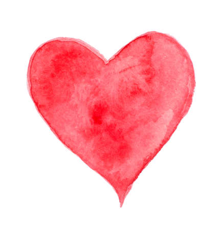 Red watercolor heart for Valentine
