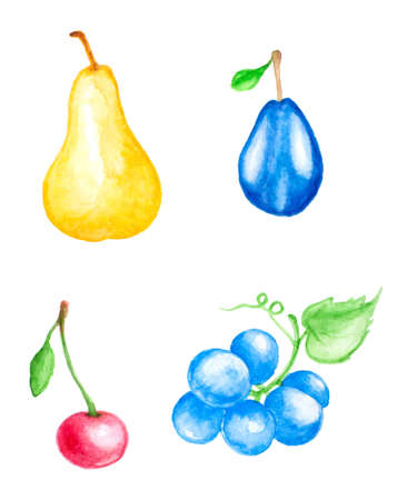 Set of hand drawn watercolor fruits and berries photo