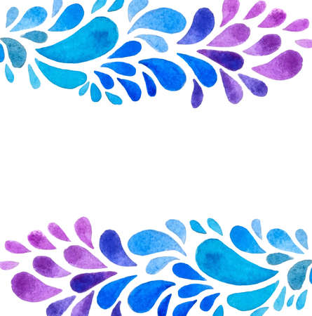paint drop: Abstract watercolor background with blue and violet drops