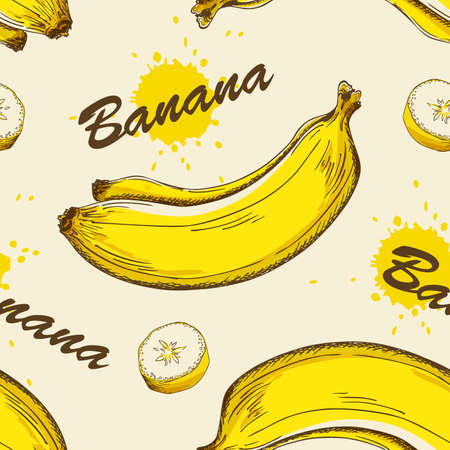 Vector seamless pattern with yellow ripe bananas