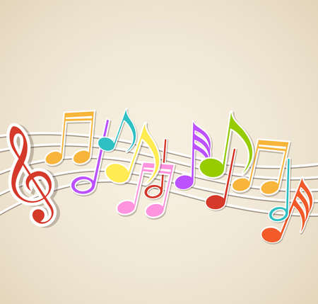Vector abstract music background with notes Ilustração
