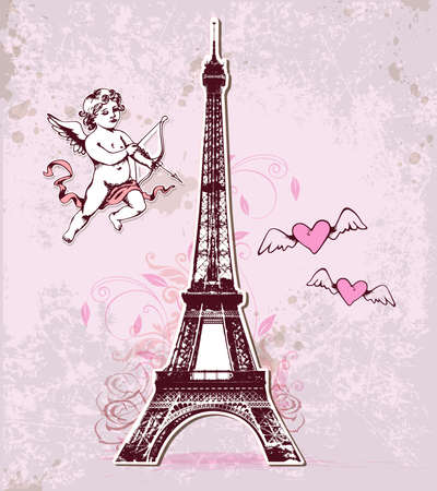background pink: Vintage vector card with Eiffel Tower and cupid for Valentines Day