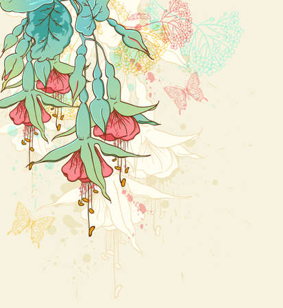 fuchsia flower: Decorative floral background with red tropical flowers