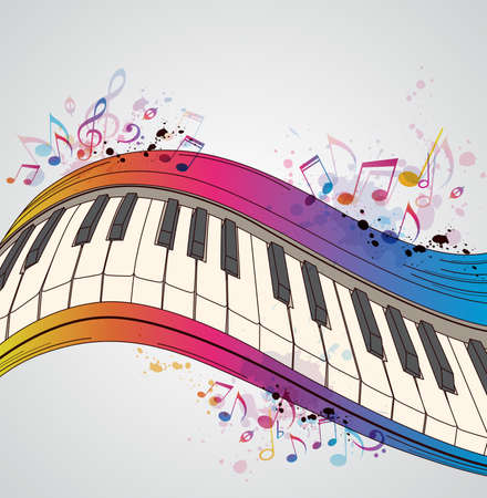 Music bright background with piano and notes Banco de Imagens - 35864975