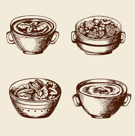 퓌레: 해산물과 야채 빈티지 손으로 그린 수프 일러스트