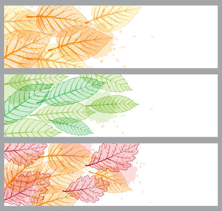 fall trees: Horizontal vector banners with green and orange leaves