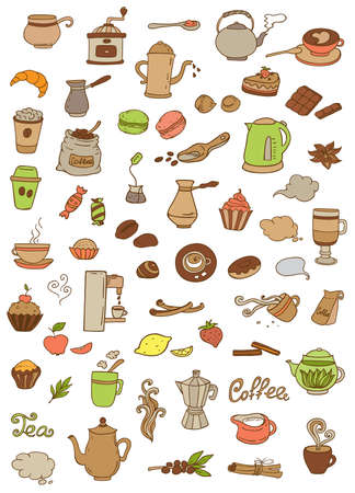 apple cinnamon: Set of vector tea and coffee doodle elements for design Illustration