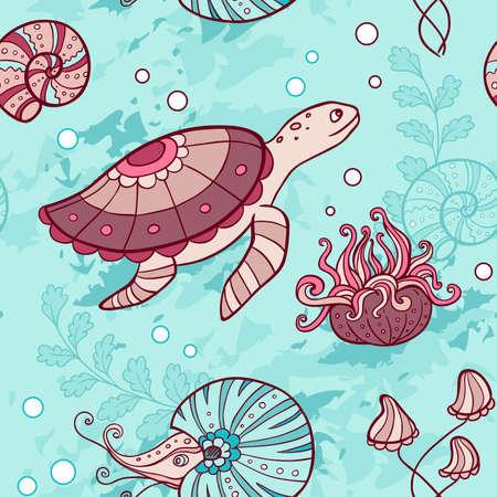 actinia: Vector marina sin patr�n, con la tortuga y nautilus