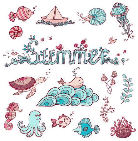 Set of vector sea doodle elements for design Vector