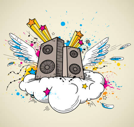 speaker: Abstract vector music background with speakers and wings