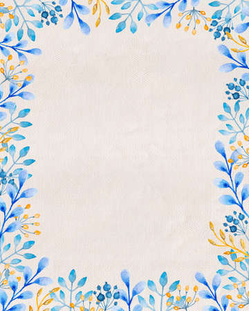Hand drawn watercolor floral frame