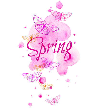 blots: Abstract spring background with pink blots and butterflies