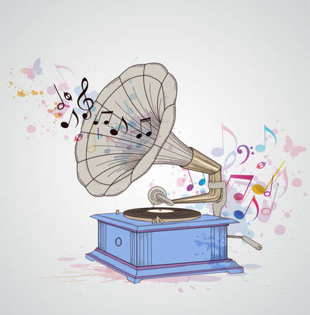 Retro music background with gramophone and notes. Illustration