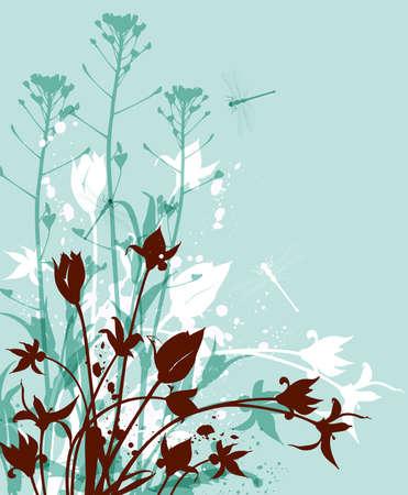 Decoratieve natuur groene achtergrond met wilde bloemen Stock Illustratie