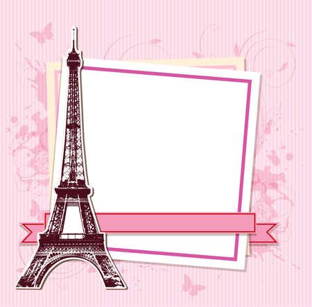 paris vintage: Marco blanco con París y la Torre Eiffel en un fondo de color rosa