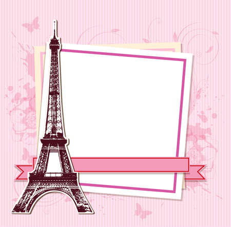 White frame with Paris and the Eiffel Tower on a pink background
