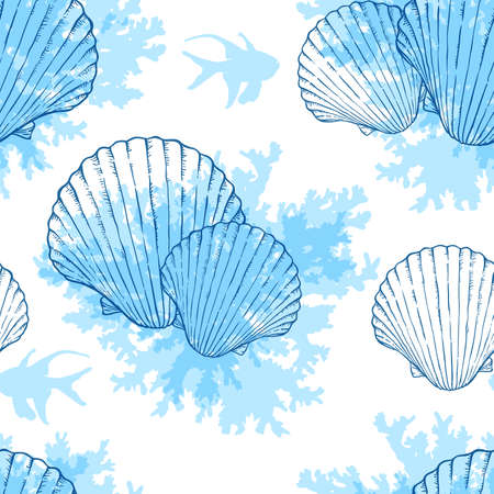 Blue marine vector seamless pattern with sea shells and fishes