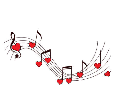 Romantic music vector background with notes and red hearts