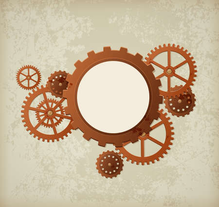 metallic background: Vector industrial background in the style of steampunk Illustration