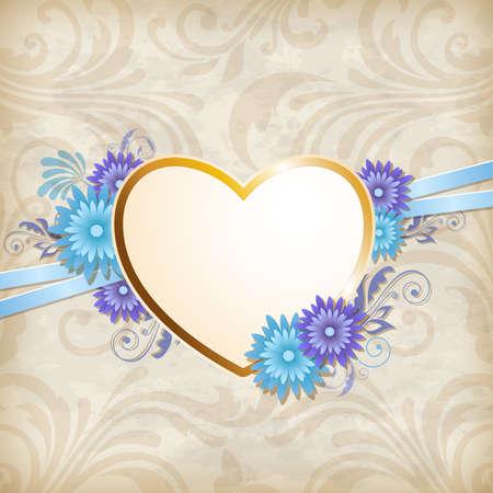golden heart: Vintage background with golden heart and blue flowers Illustration