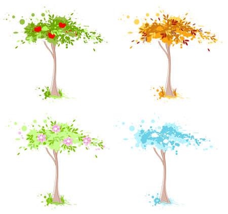 Four seasons tree  - spring, summer, autumn and winter. Illustration