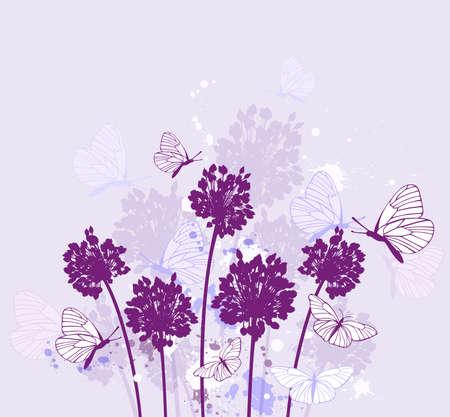 violet background: Decorative nature vector violet background with wildflowers Illustration