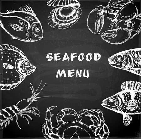 fish drawing: Vintage hand drawn seafood menu on a chalkboard