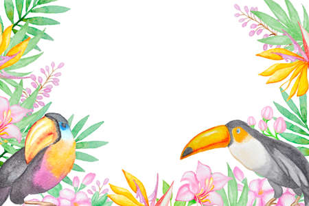 yellow flower tree: Watercolor background with tropical birds and flowers