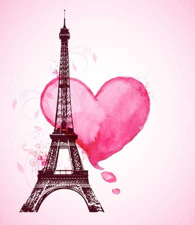 Fondo romántico día de San Valentín con el corazón rojo de la acuarela y de la Torre Eiffel