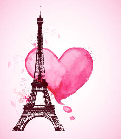 Romantic Valentine background with red watercolor heart and Eiffel Tower Ilustração