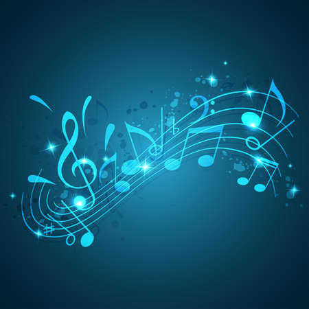 music background: Blue abstract vector music background with notes Illustration
