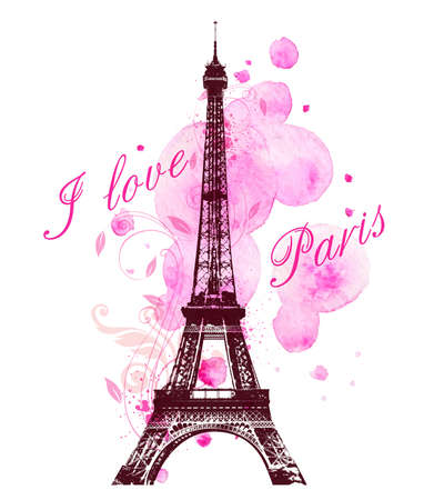 eiffel: Romantic background with pink watercolor blots and Eiffel Tower Illustration
