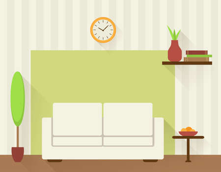 livingroom: Illustration of the living room with white sofa. Flat design style.