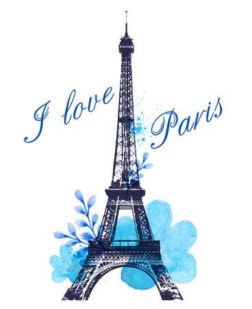 sfondo romantico: Romantic background with blue watercolor flowers and Eiffel Tower Vettoriali