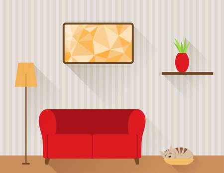 Illustration des Wohnzimmer mit roten Sofa und Katze im Korb. Flache Design-Stil.