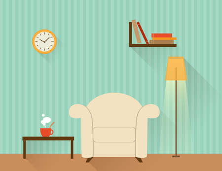 living room design: Illustration of the living room with white armchair. Flat design style.