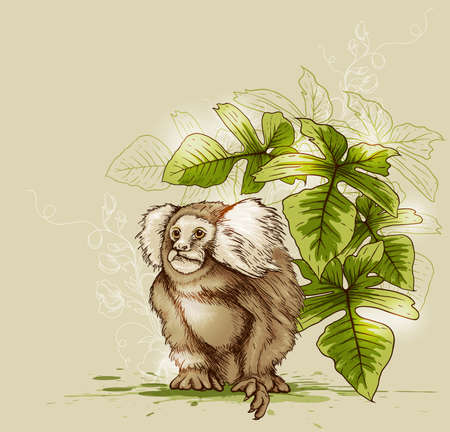Tropical background with monkey and green plant Иллюстрация