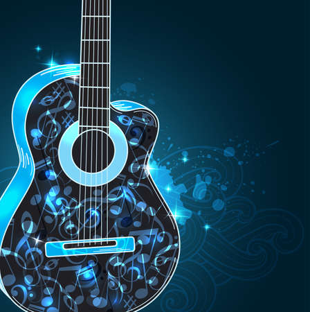 abstract music: abstract black music background with guitar and blue notes