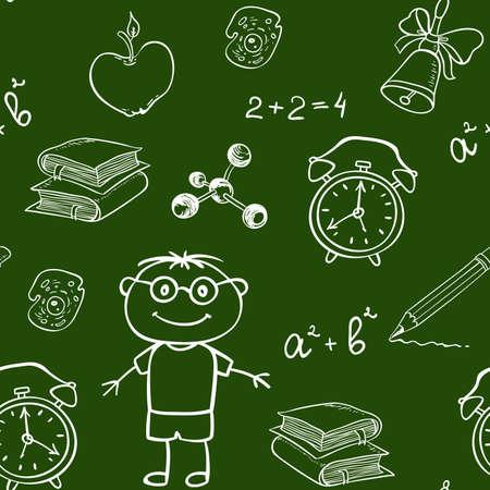 La scuola vector seamless con vari oggetti su una lavagna
