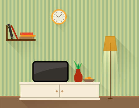 living room design: Illustration of the living room with TV. Flat design style.