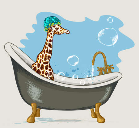 sanitary engineering: Giraffe sitting in the bathroom with soap bubbles on a blue background. Hand drawn illustration.