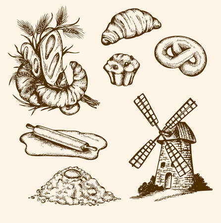wheat bread: Set of vintage bakery, hand drawn illustration Illustration